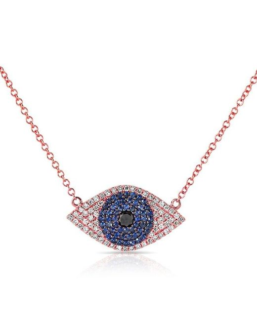 Anne Sisteron | 14kt Rose Gold Blue Sapphire Diamond Evil Eye Necklace | Lyst