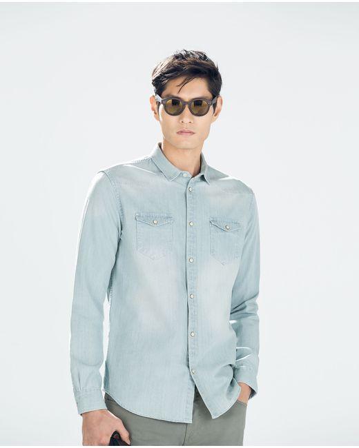 Zara | Blue Basic Denim Shirt for Men | Lyst