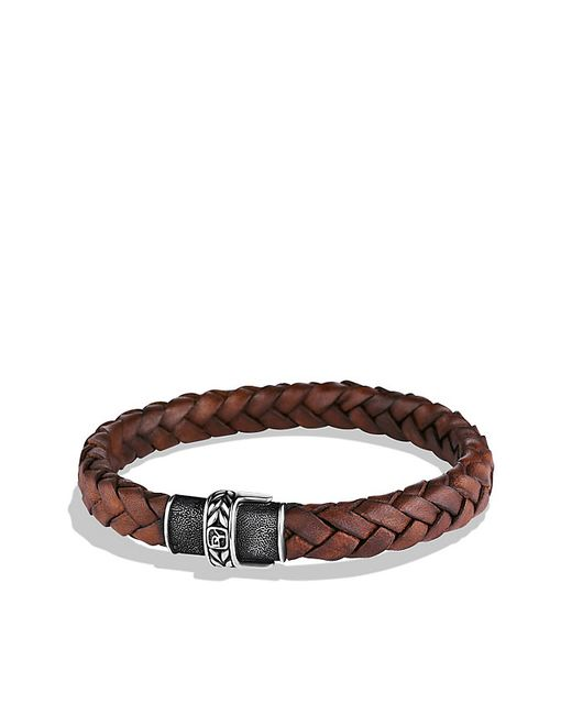 David Yurman | Chevron Narrow Woven Leather Bracelet In Brown for Men | Lyst