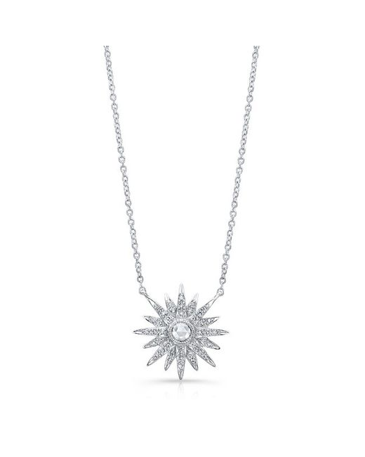 Anne Sisteron - Metallic 14kt White Gold Diamond Vintage Style Starburst Necklace - Lyst