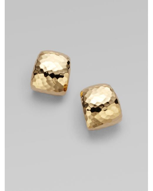 Roberto Coin | Metallic Martellato 18k Yellow Gold Huggie Earrings/0.75 | Lyst