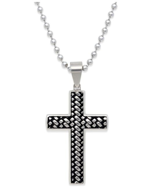 Macy's | Metallic Men's Woven Cross Pendant Necklace In Stainless Steel for Men | Lyst