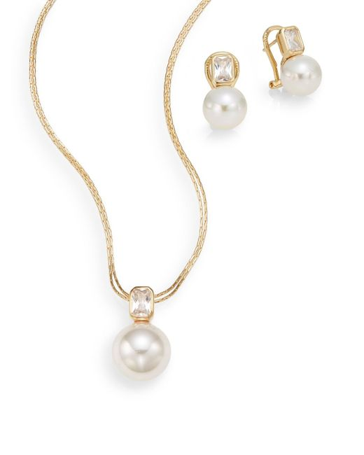 Majorica | Metallic Ophol 10mm-12mm White Round Pearl & 18k Yellow Gold Vermeil Necklace & Earrings Gift Box Set | Lyst