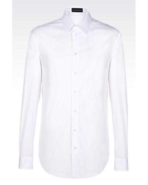 Emporio Armani | White Stretch Cotton Poplin Shirt for Men | Lyst