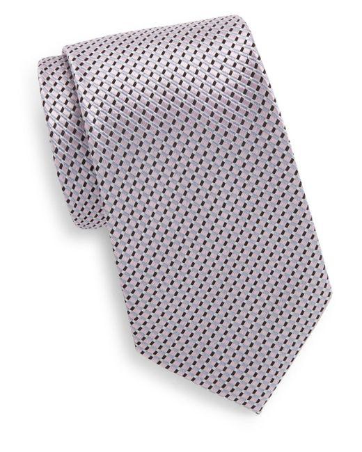 Saks Fifth Avenue | Pink Boxed Neat Stripe Silk Tie for Men | Lyst