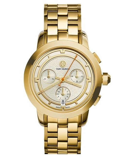 Tory Burch | Metallic 'tory' Chronograph Bracelet Watch | Lyst