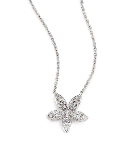 Kwiat | Sunburst Diamond & 18k White Gold Medium Flower Pendant Necklace | Lyst