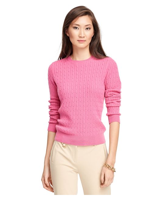 Brooks Brothers | Pink Cashmere Cable Crewneck Sweater | Lyst