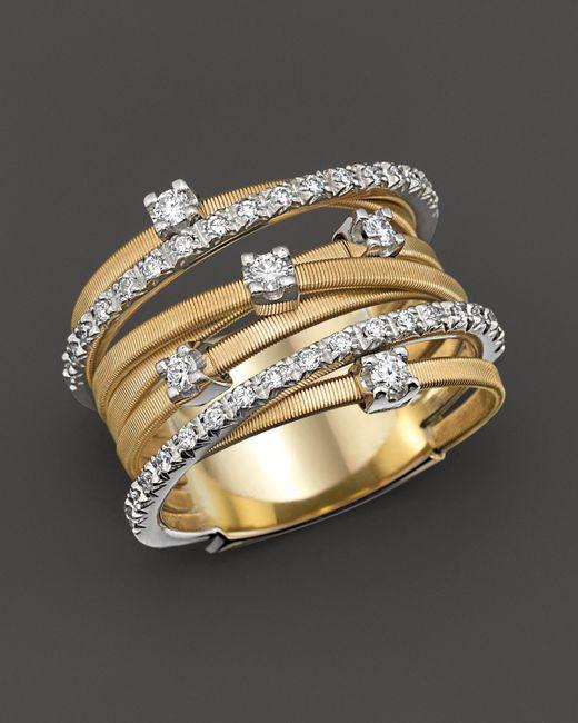 Marco Bicego   Metallic 18k Yellow Gold Goa Seven Row Ring With Diamonds   Lyst