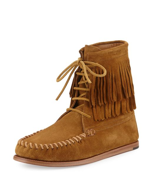 laurent fringed suede moccasin boots in brown
