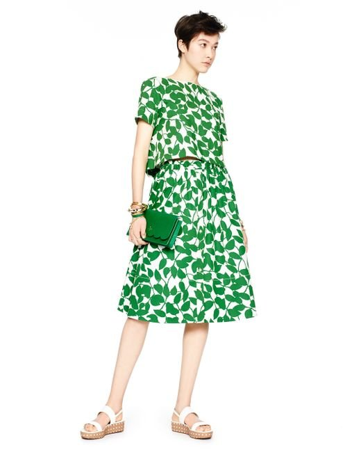 Kate Spade | Green Garden Leaves Poplin Crop Top | Lyst