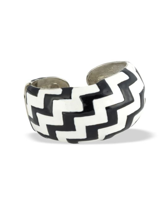 Kenneth Jay Lane | Black And White Zigzag Cuff | Lyst