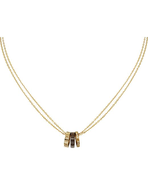 Cartier | Metallic Love Three-hoop 18ct Pink-gold And Diamond Necklace | Lyst