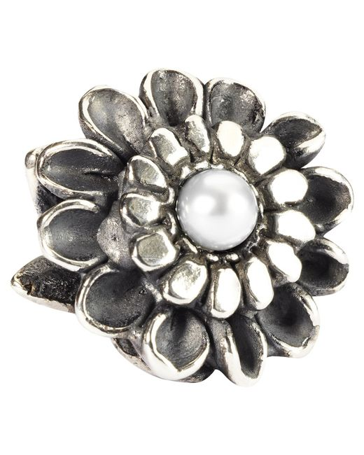 Trollbeads | Metallic Sterling Silver Chrysanthemum Of November With Pearl Bead | Lyst