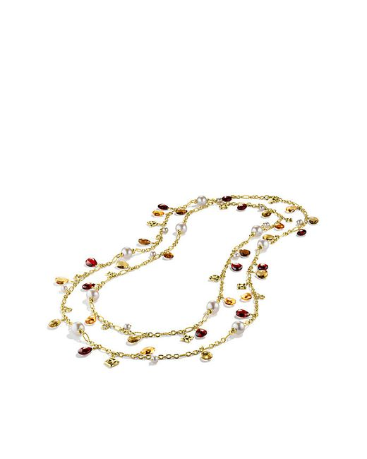 David Yurman | Yellow Bijoux Bead Necklace With Peach Pearls And Garnet In 18k Gold | Lyst