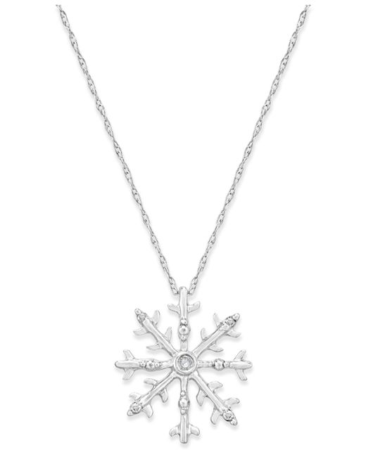 macy s accent snowflake pendant necklace in 10k