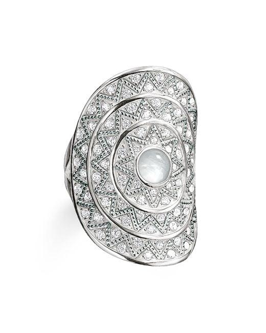 Thomas Sabo | Metallic Zig Zag Milky Quartz Cocktail Ring | Lyst
