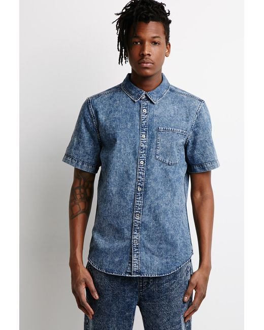 Forever 21 | Blue Acid Wash Denim Shirt for Men | Lyst