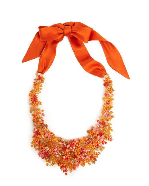 Natori | Orange Josie Beaded Bib Necklace - Cayenne | Lyst