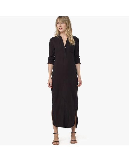 James Perse | Black Long Cotton Henley Dress | Lyst