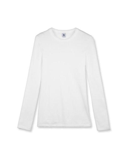 Petit Bateau | White Women's Iconic Plain Long-sleeved Crew Neck Tee | Lyst