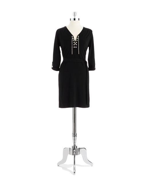 MICHAEL Michael Kors | Black Tie Waist Dress | Lyst