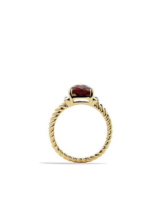 David Yurman | Yellow Petite Wheaton Ring With Garnet And Diamonds In Gold | Lyst