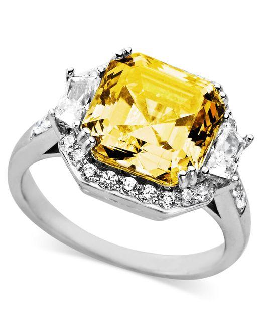 Arabella | Metallic Yellow And White Swarovski Zirconia Cushion Cut Ring (10-1/3 Ct. T.w.) | Lyst