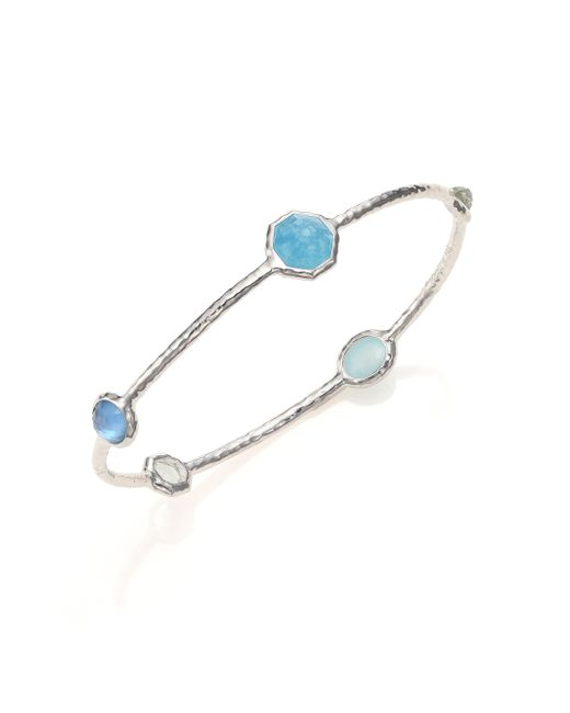 Ippolita | Metallic Rock Candy Larimar, Milky Aquamarine, Blue Topaz & Sterling Silver Five-stone Station Bangle Bra | Lyst