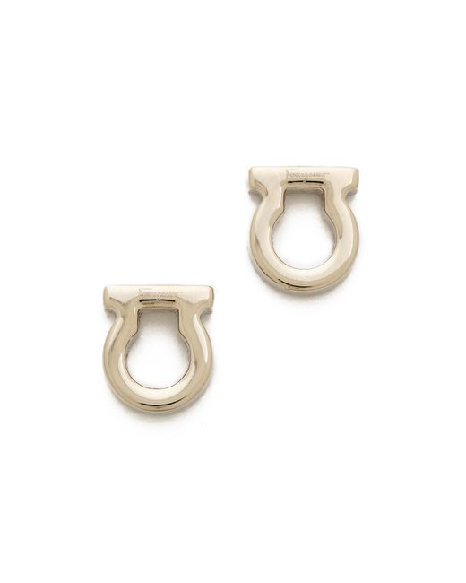 Ferragamo | Metallic Gancio Stud Earrings | Lyst