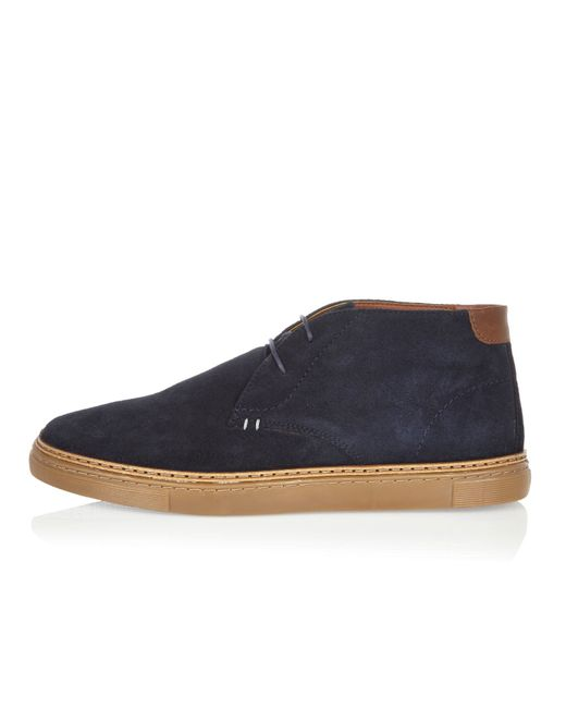 river island navy suede chukka boots in black for