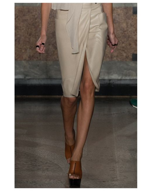 ports 1961 leather skirt in khaki lyst