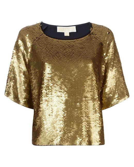 michael michael kors sequin embellished top in gold blue save 60 lyst. Black Bedroom Furniture Sets. Home Design Ideas