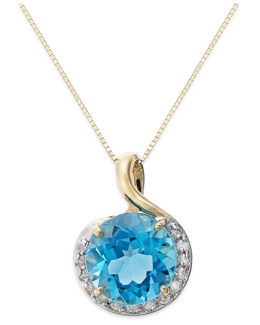 Macy's | Metallic Blue Topaz Love Knot Pendant Necklace In Sterling Silver (2-7/8 Ct. T.w.) | Lyst