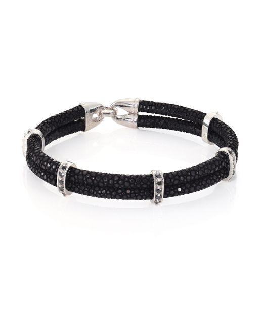 Stinghd | Black Diamond, Silver & Stingray Wrap Bracelet for Men | Lyst