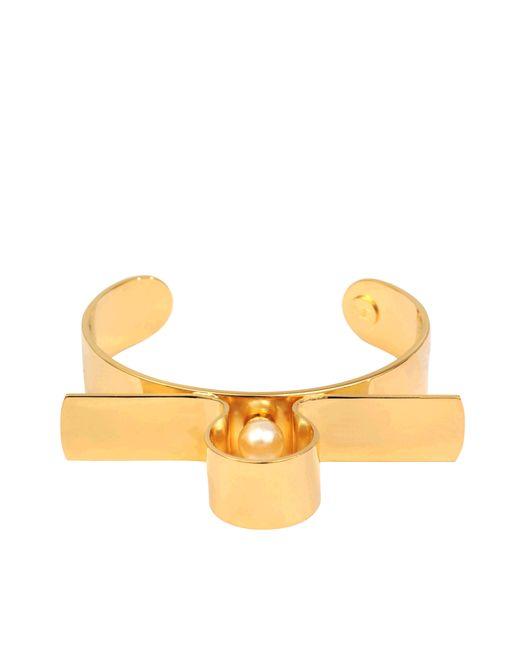 Helene Zubeldia | Metallic Glass Pearl Metal Cuff | Lyst