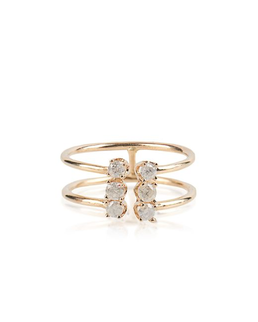 Loren Stewart | Metallic White-diamond & Yellow-gold Double Band Ring | Lyst