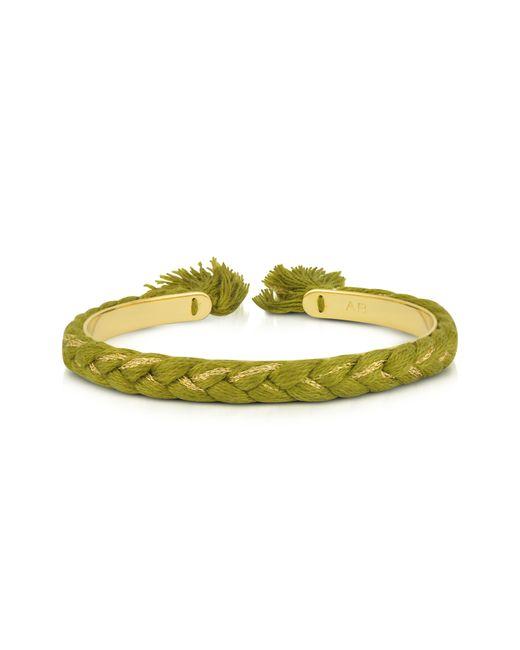 Aurelie Bidermann - Green Copacabana Gold And Cotton Thin Bangle - Lyst