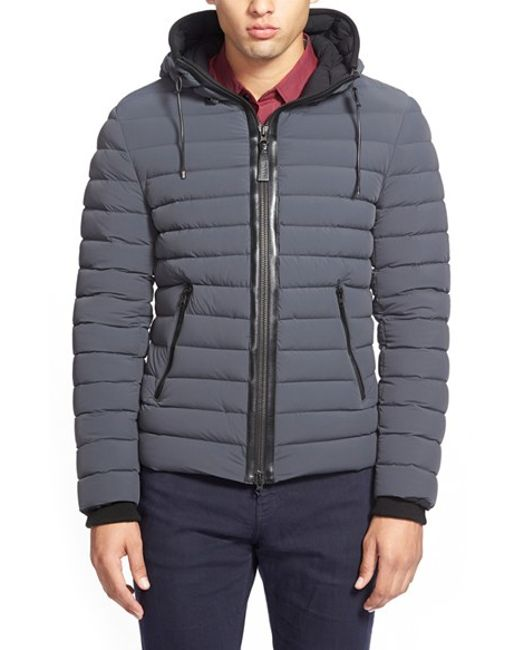 Mackage | Gray Lux Water Repellent Hooded Down Jacket With Leather Trim for Men | Lyst