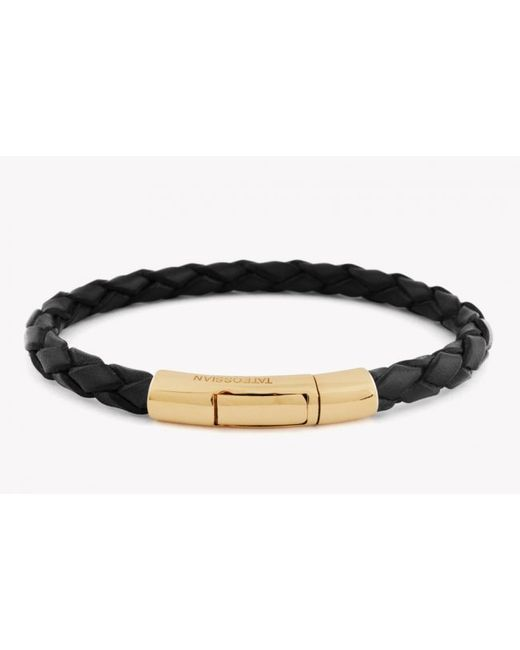 Tateossian | Single Wrap Scoubidou Black Leather Bracelet With 18k Yellow Gold Clasp for Men | Lyst