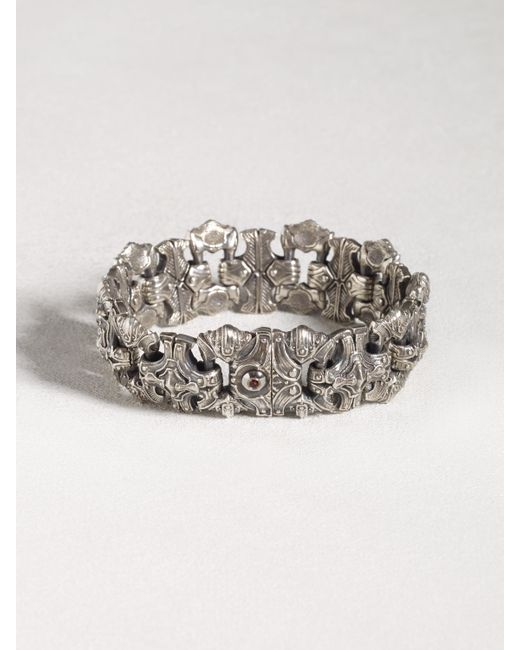 John Varvatos   Metallic Sculpted Sterling Silver Bracelet With Red Topaz for Men   Lyst