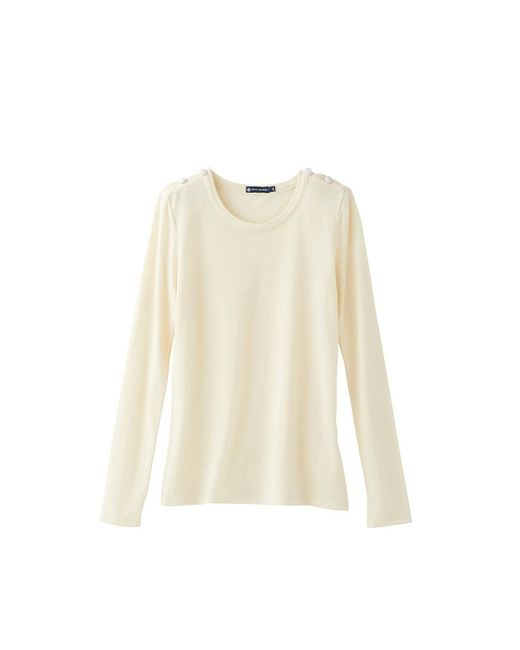 Petit Bateau | White Women's Long-sleeved Tee In Winter Cotton Jersey, Wool And Silk | Lyst