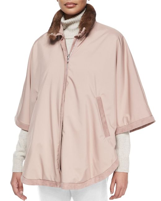 Loro Piana   Pink Winter Vail Reversible Fur-Collar Cape    Lyst