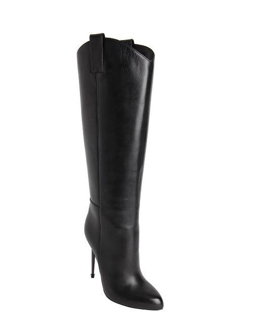 tom ford black calfskin pin heel pull on knee high boots