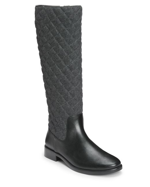 Aerosoles | Gray Establish Faux Leather Quilted Riding Boots | Lyst