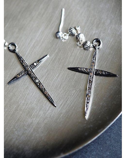 Free People | Metallic Jet Plane Diamond Cross Earring | Lyst