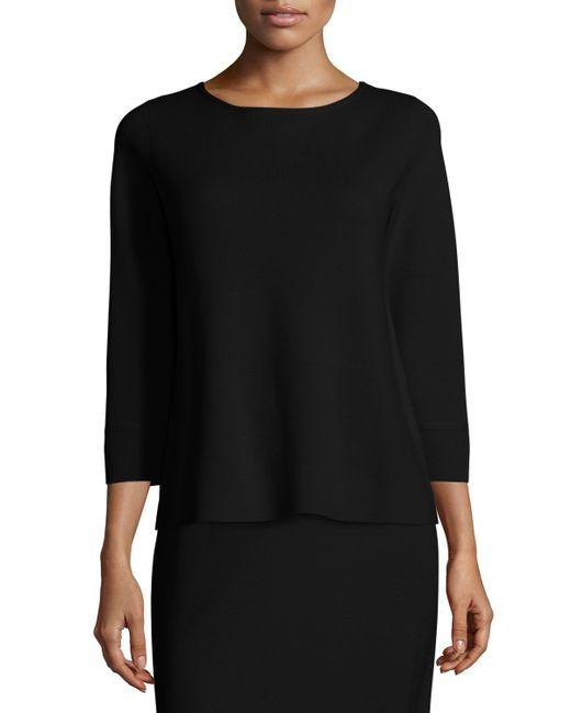 Eileen Fisher 3 4 Sleeve Silk Cotton Interlock Box Top In