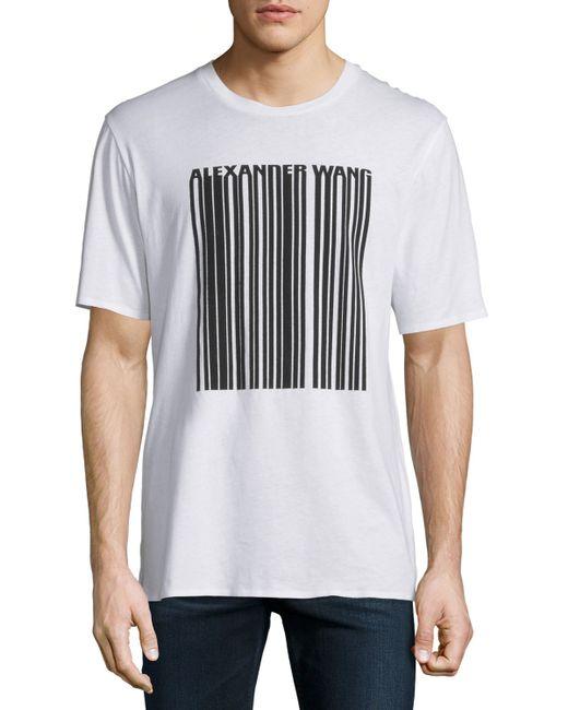 Alexander Wang Barcode Logo Short Sleeve T Shirt In White
