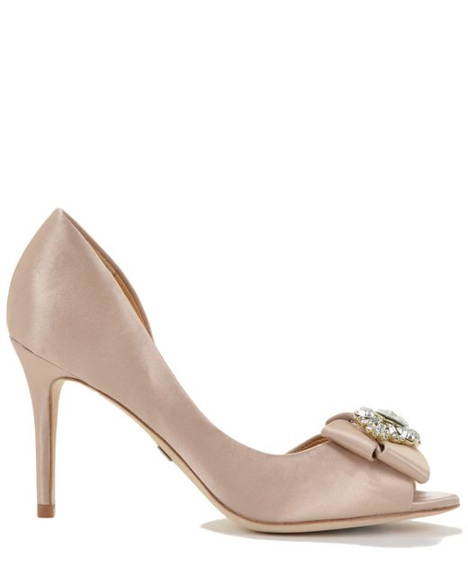 Badgley Mischka | Pink Reality Satin Embelished Evening Shoe | Lyst