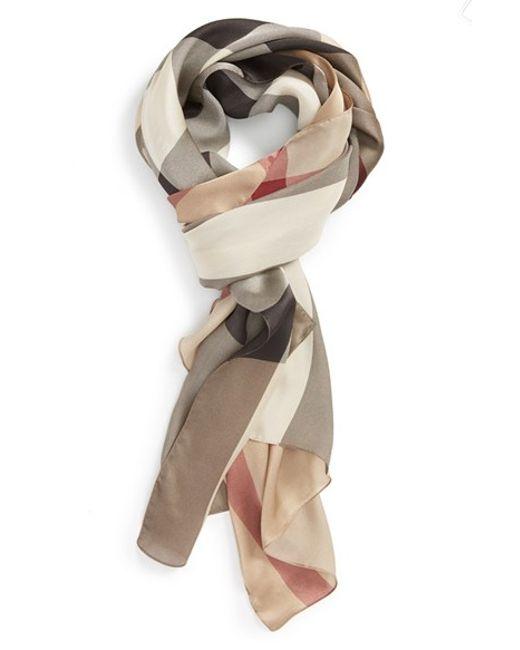 Burberry | Brown Check Print Silk Scarf | Lyst